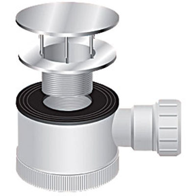 Picture of SHOWER TRAP 70MM WHITE FLANGE AND CHROME DOME