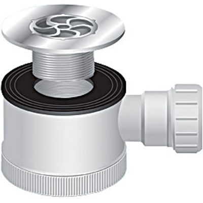Picture of SHOWER TRAP WITH WHITE GRILLE 70MM FLANGE