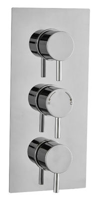 Picture of ROUND CONCEALED DUAL THERMOSTATIC SHOWER MIXER TRIPLE OUTLET